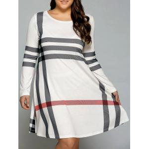 Casual Plus Size Striped Knee Legnth T-Shirt Dress - Off-white - Xl