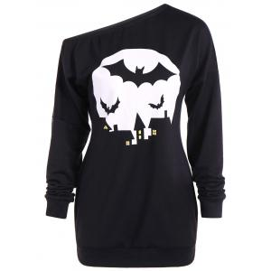 Bat Print One Shoulder Sweatshirt