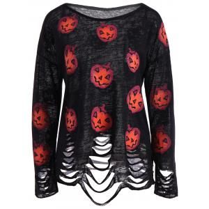 Pumpkin Ripped Halloween Knitwear - Black - L