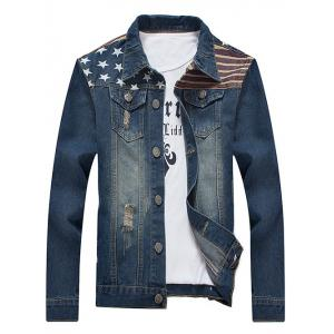 Turn-Down Collar Star and Stripe Print Distressed Denim Jacket - Blue - 3xl