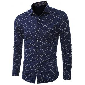 Plus Size Geometric Print Turn-Down Collar Long Sleeve Shirt - Blue - L
