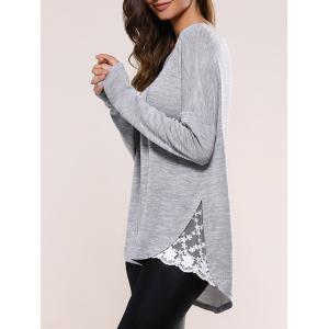 Lace Insert Asymmetric Pullover Long Sleeve Sweater - Blue Gray - Xl