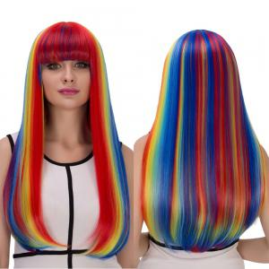 Rainbow Color Long Full Bang Tail Adduction Cosplay Synthetic Wig