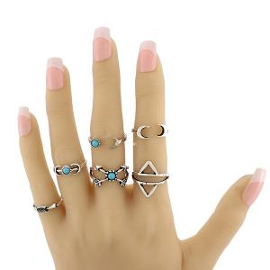 Faux Turquoise Moon Geometric Ring Set