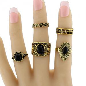 Vintage Faux Gem Circle Fingertip Ring Set