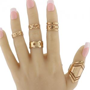 Infinite Heart Geometric Pentagram Fingertip Ring Set - Golden - One-size