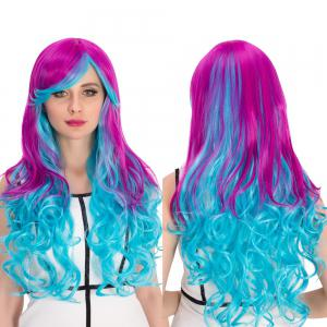 Purple Gradient Blue Long Inclined Bang Wavy Cosplay Synthetic Wig