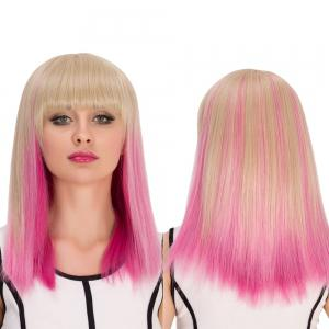 Synthetic Cosplay Medium Full Bang Straight Gradient Color Wig