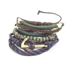 Anchor Bead Faux Leather Bracelets - Green - One-size