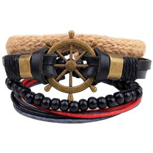 Rudder Beaded Faux Leather Bracelets - Black - Xl