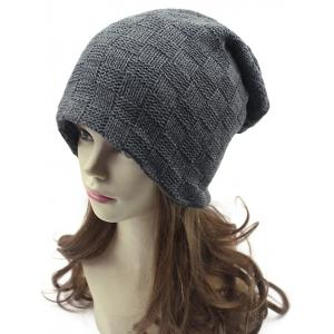 Casual Plaid Weaving Double-Deck Knit Beanie