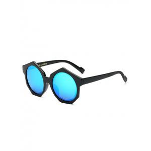 Modern Polygonal Frame Mirrored Sunglasses