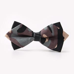 Banquet Camouflage Print Sharp-Angled Double-Deck Bow Tie - Gray - Xl