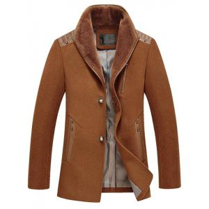 PU Splicing Zip Up Woolen Blend Coat - Camel - L