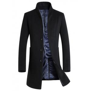 Single-Breasted Woolen Blend Stand Collar Coat - Black - L