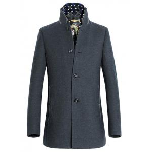 Stand Collar Long Style Woolen Blend Coat - Gray - Xl
