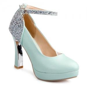 Ankle Strap Chunky Heel Sequin Pumps - Blue - 38