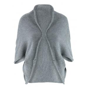 Asymmetric 3/4 Sleeve Cardigan - Gray - One Size