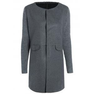 Round Neck Knitted Sleeve Spliced Single-Breasted Coat - Deep Gray - Xl