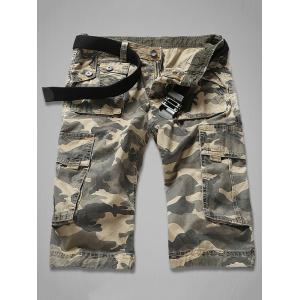 Zipper Fly Multi-Pocket Camouflage Cargo Shorts