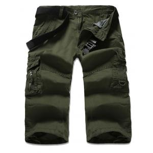 Zipper Fly Multi-Pocket Design Cropped Cargo Pants - Army Green - 32
