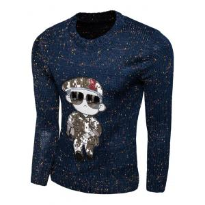 Cartoon Figure Print Long Sleeve Crew Neck Sweater