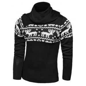 Button Scraf Collar Long Sleeve Christmas Sweater - Black - 2xl
