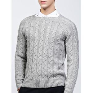Round Neck Raglan Sleeve Cable-Knit Sweater