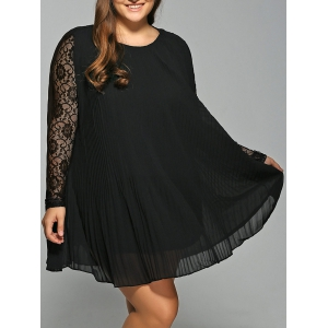 Long Sleeve Lace Spliced Pleated Plus Size Dress