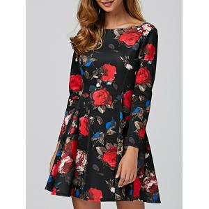 Long Sleeve Floral Mini Vintage Dress - Black - M