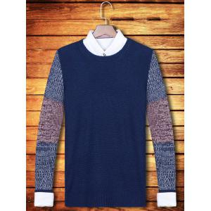 Color Block Splicing Crew Neck Long Sleeve Sweater