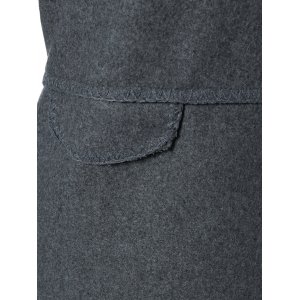 Round Neck Knitted Sleeve Spliced Single-Breasted Coat - DEEP GRAY 5XL