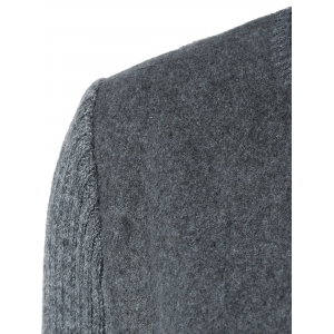 Round Neck Knitted Sleeve Spliced Single-Breasted Coat - DEEP GRAY 2XL