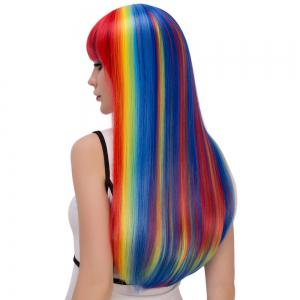 Rainbow Color Long Full Bang Tail Adduction Cosplay Synthetic Wig - COLORMIX