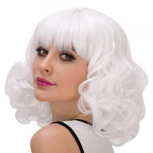 Cosplay Synthetic Faddish Short Full Bang Curly Wig -