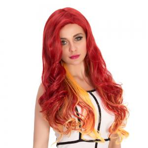 Gradient Color Long Wavy Cosplay Synthetic Wig - YELLOW/RED