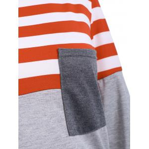 Striped Pocket Tunic T-Shirt - ORANGE RED S