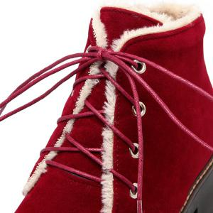 Chunky Heel Lace-Up Short Boots -