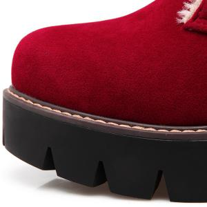 Chunky Heel Lace-Up Short Boots - RED 41