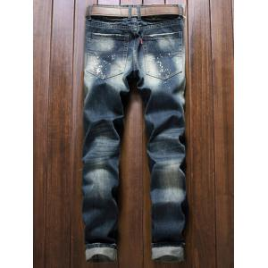 Patch Design Paint Splatter Distressed Jeans -