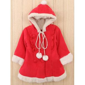 Kids Hooded Fleece Christmas Coat - Red - 130