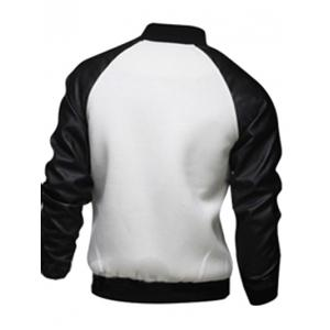 Snap Button Up PU Leather Insert Raglan Sleeve Jacket - WHITE XL