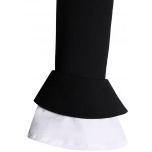 A Line Color Block Dress with Brooch - BLACK M
