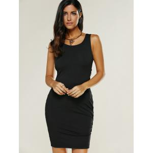 Backless Lace Up Fitted Club Bandage Mini Dress - BLACK XL