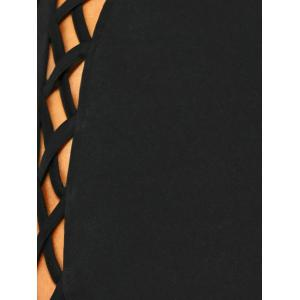 Backless Lace Up Fitted Club Bandage Mini Dress - BLACK S