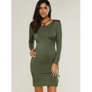 Lace Up Bodycon Club Dress with Sleeves -
