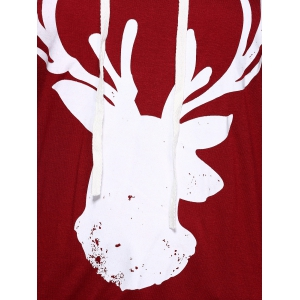 Long Sleeve Deer Print Christmas Hooded T-Shirt - RED XL