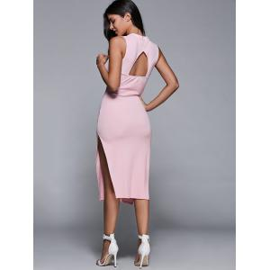 Sleeveless Back Cutout Side Slit Bodycon Party Dress -