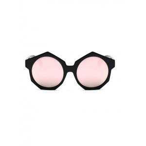 Modern Polygonal Frame Mirrored Sunglasses - PINK