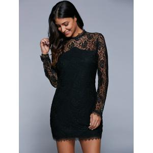 Long Sleeve See-Through Lace Bodycon Dress - BLACK XL